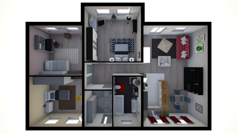 pôdorys, zariadenie interiéru, moderný interiér, dizajn, 3D vizualizácia
