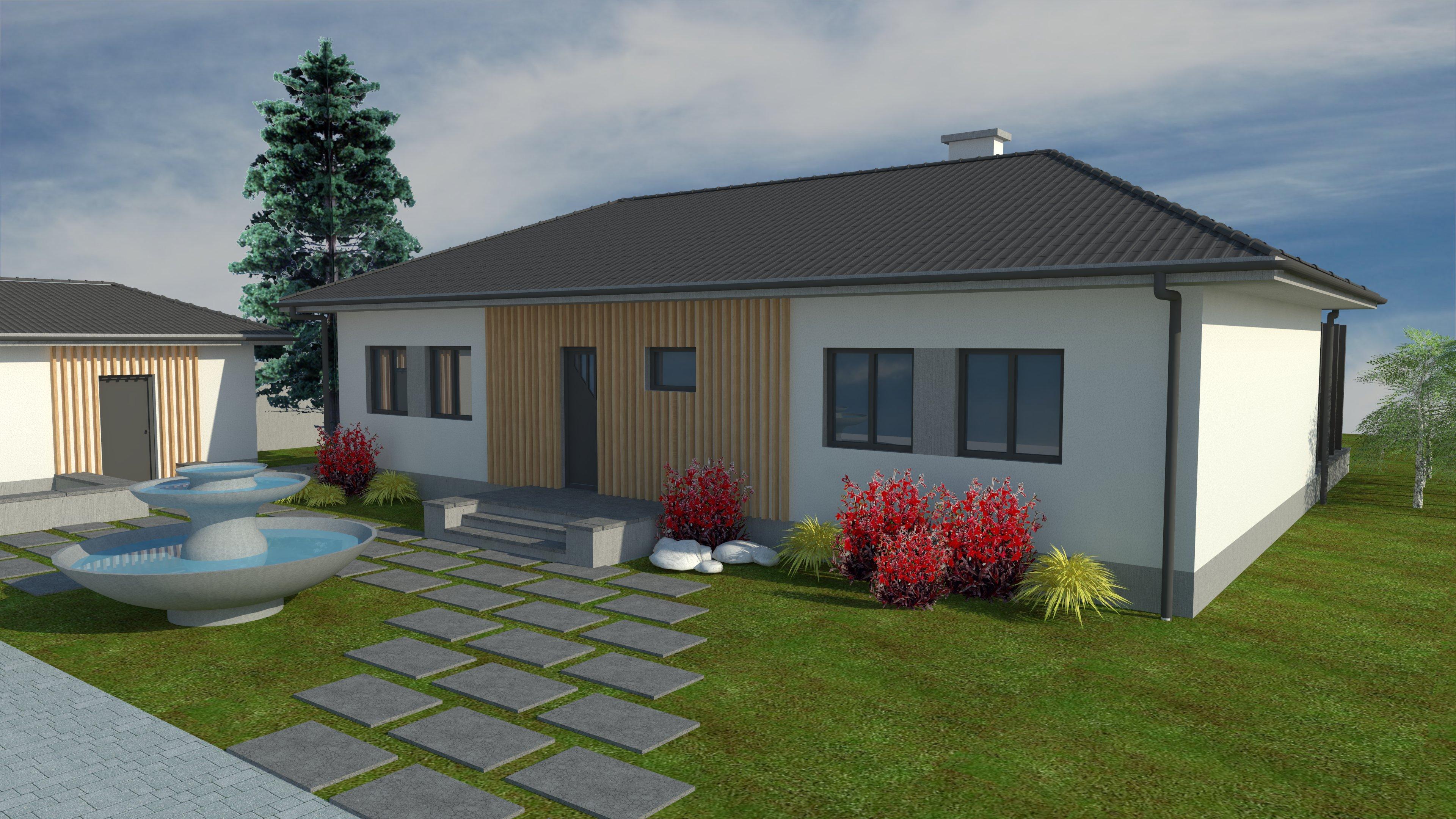 jednopodlažný dom, moderný bungalov, moderná garáž,