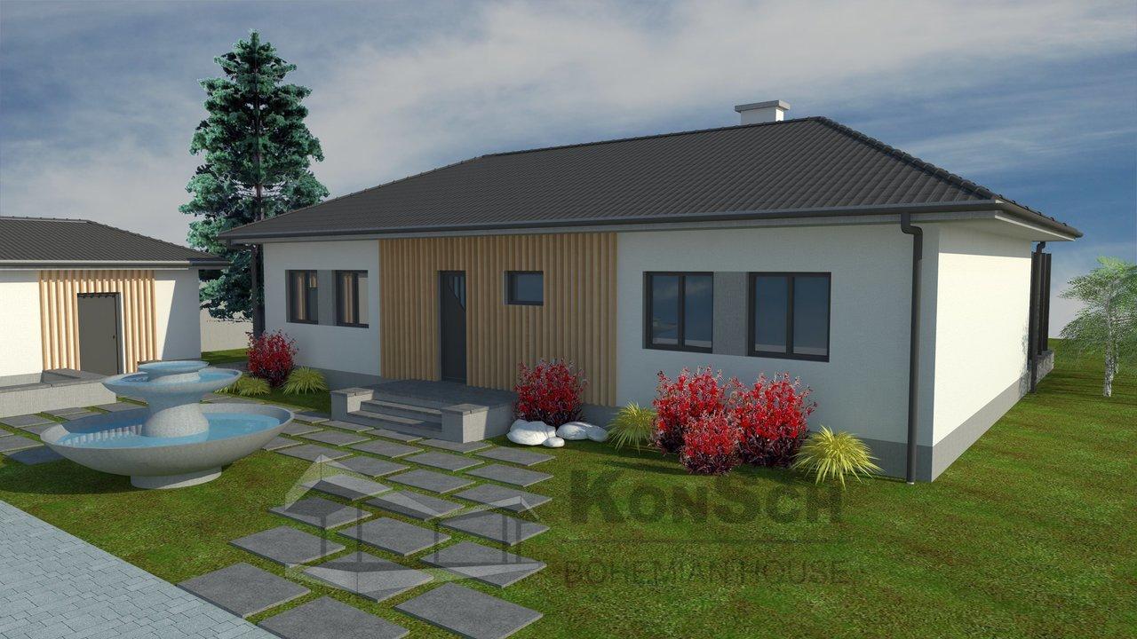 3D návrh, moderný projekt, rodinný dom, bungalov a garáž