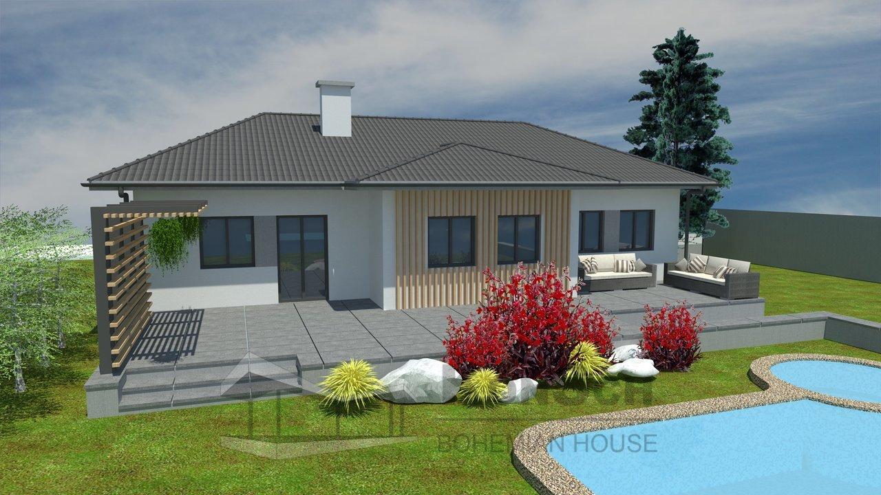 Rodinný dom, vizualizácia domu, drevená fasáda, terasa z kameňa, slnolam, bazén s výrivkou