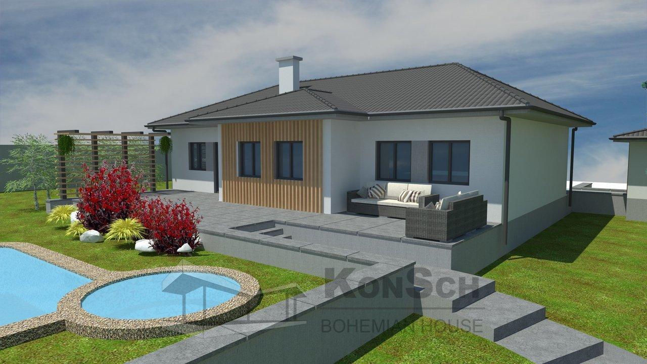 Projekt domu, 3D vizualizácia, moderný bungalov, terasa z kameňa