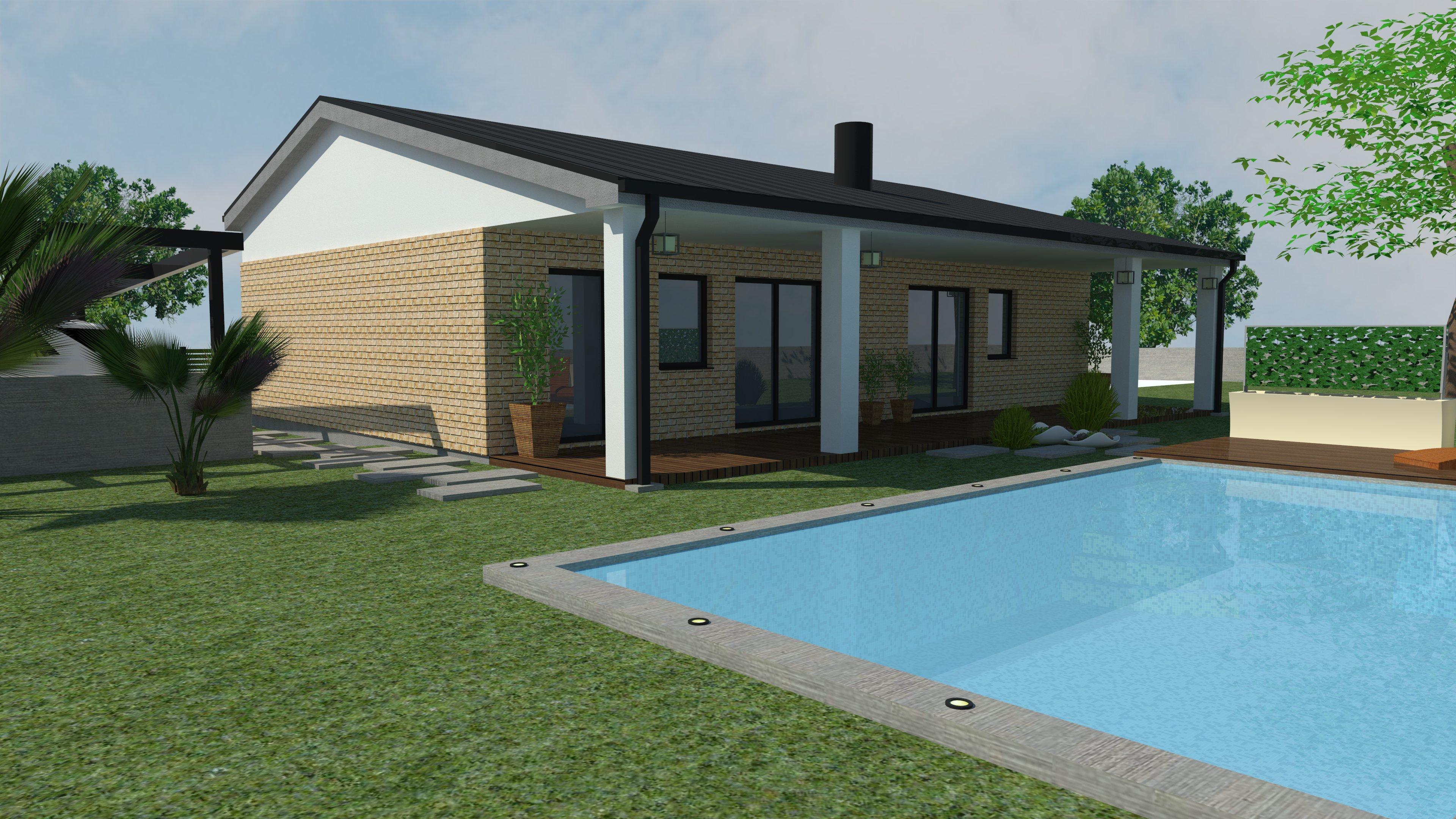 rodinný dom, kamenný obklad, dom s bazénom,