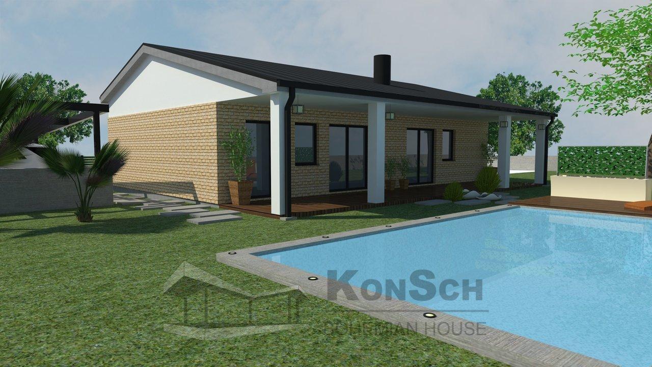 Projekt domu, dom, rodinný dom, 3D vizualizácia, obklad z kameňa, bazén,