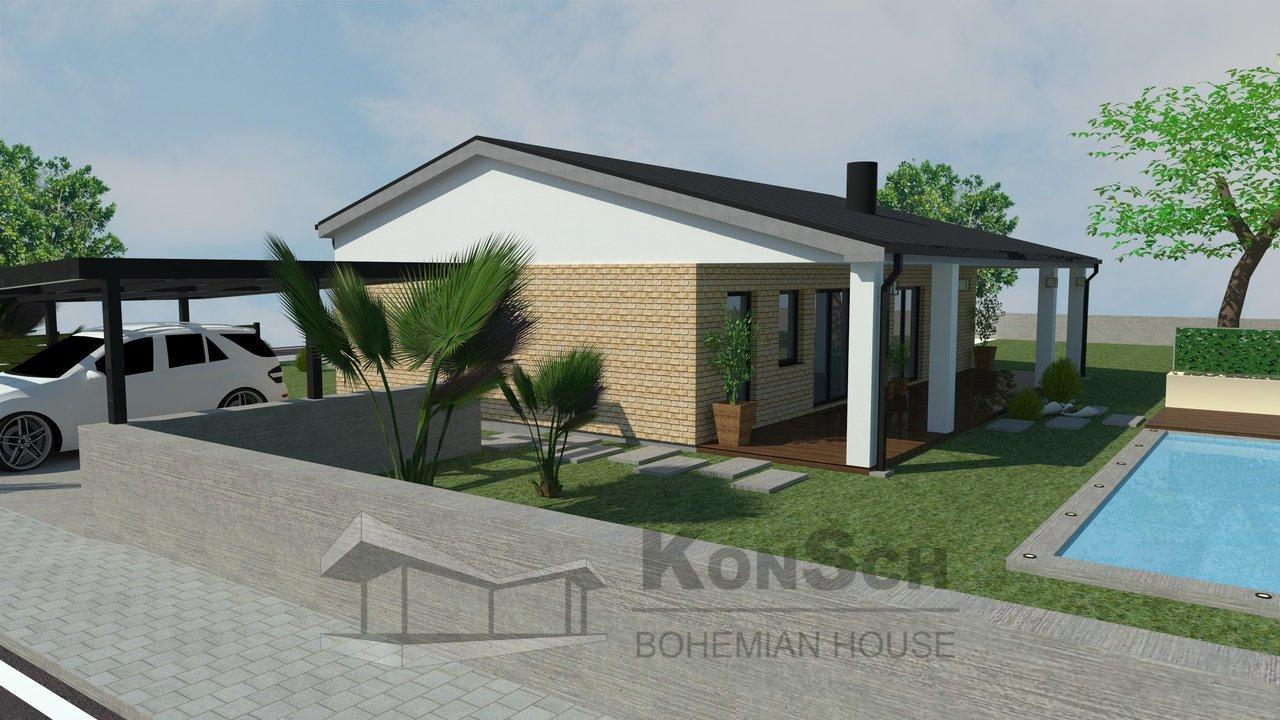 3D vizualizácia, bungalov s bazénom, rodinný dom, drevená terasa, prístrešok pre autá, bazén, 3D vizualizácia