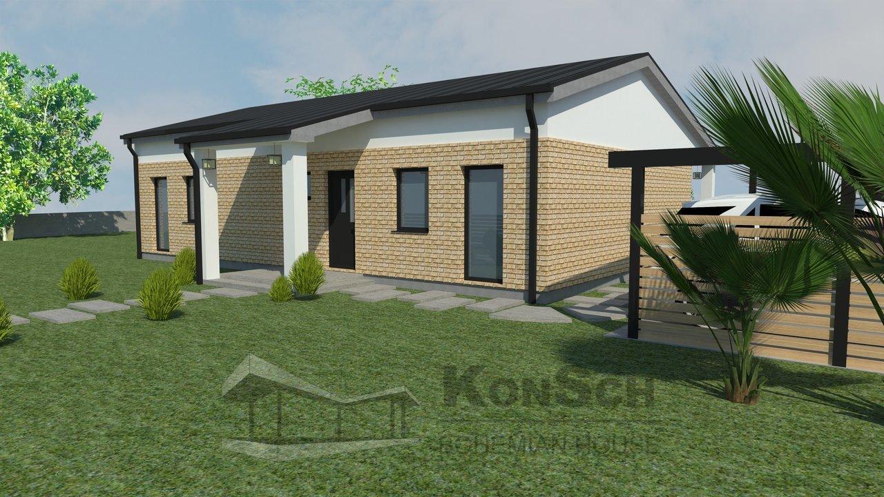 priestranný bungalov, 3D návrh, domček, dom, pristrešok na autá,