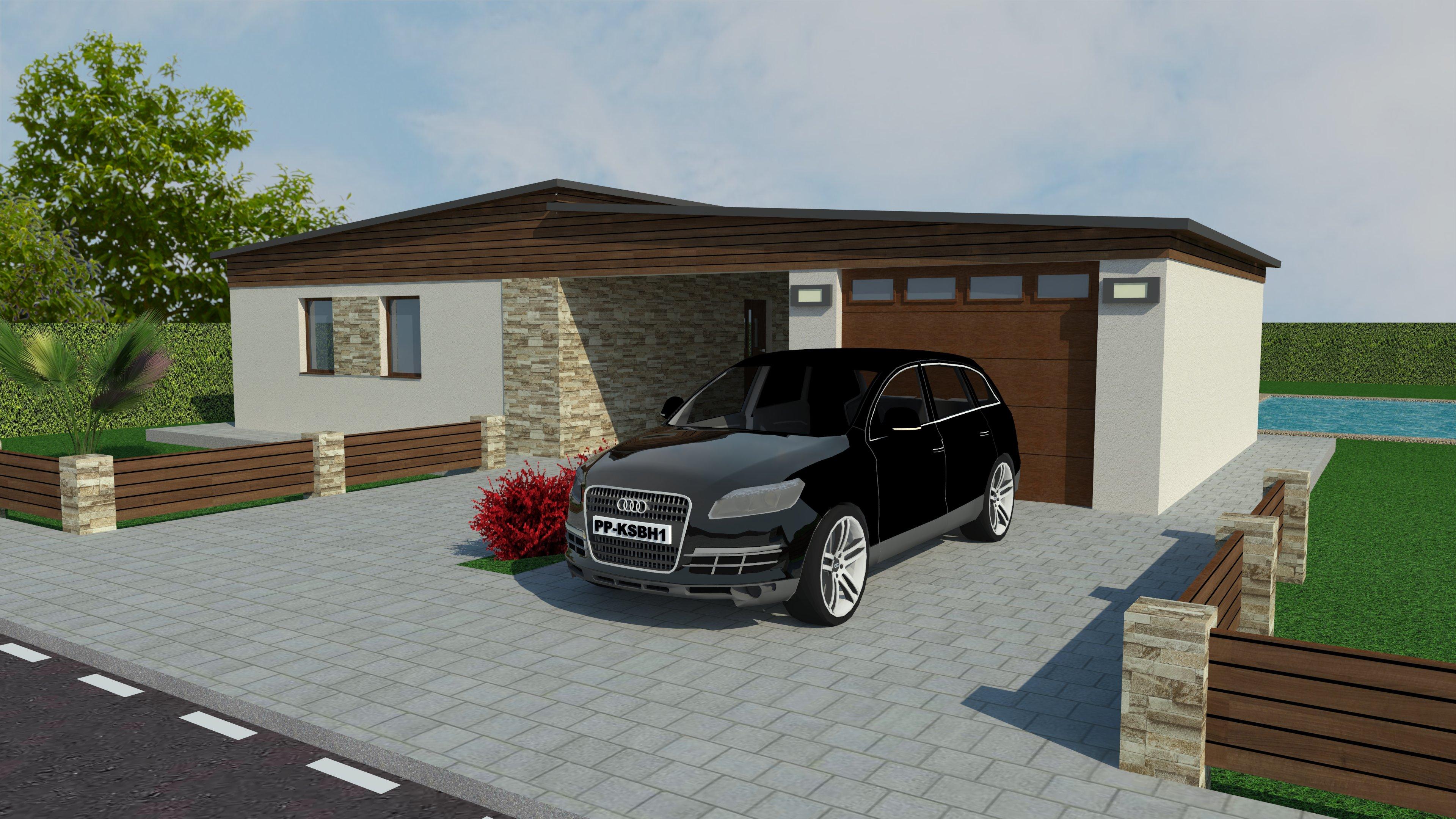 bungalov, jednopodlažný dom, rodinný dom, 3D vizualizácia