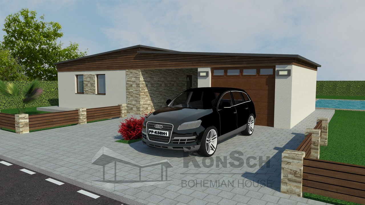 projekt bungalovu, kamenný obklad, drevená fasáda