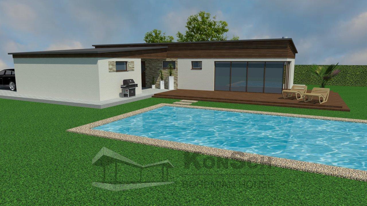 luxusný bazén, bungalov, drevená terasa, drevená fasáda, obklad kameň