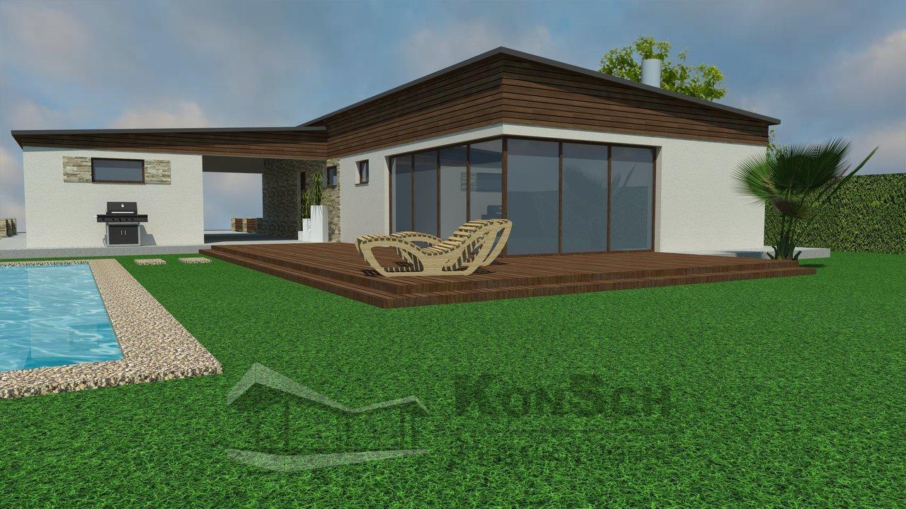 Luxusný rodinný dom, bazén pri dome, drevená terasa